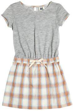 Cotton Jersey & Plaid Dress