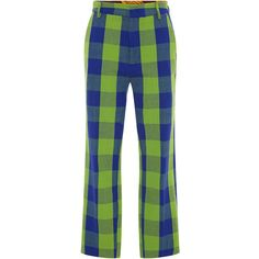 Stella Jean     Lettore Pants ($295) ❤ liked on Polyvore featuring pants, capris, green, cropped trousers, cropped capri pants, plaid pants, tartan plaid pants and plaid trousers