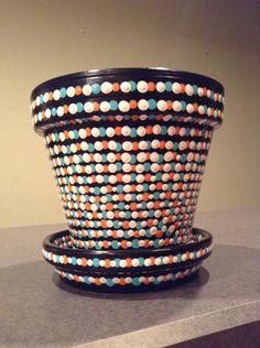 Black, White, Blue and Orange Polka Dot Flower Pot on Etsy, $30.00