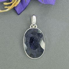 Dark Blue Sapphire Pendant – Bezel Set Pendant – Oval Faceted Pendant – Blue Pendant – Set In Solid Sterling Silver – Gift For Her, P/23/45