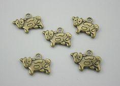 5 pcs.Zinc Antique Brass Cow Ox Charms Jewelry by 18StudsandSpikes