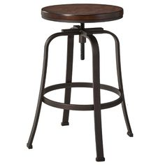 Dakota Adjustable Height Swivel Stool - Distressed/Black - The Industrial Shop : Target Industrial Bar Stools, Metal Bar Stools, Counter Stools, Industrial Chic, Kitchen Stools, Bar Counter, Metal Chairs, Island Stools, Kitchen Seating