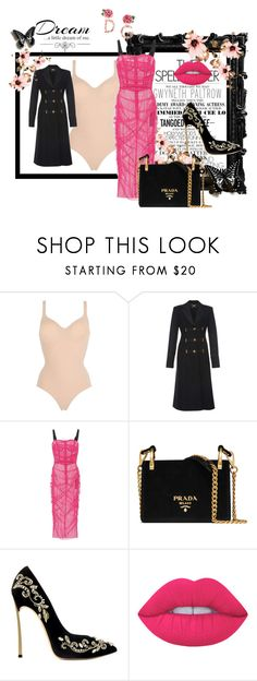 """""""Pink Is My #1 Colour"""" by a-m-m-m ❤ liked on Polyvore featuring Wolford, Dolce&Gabbana, Prada, Lime Crime, Gwyneth Shoes, Love Quotes Scarves, Pink, contestentry and NYFWHotPink"""