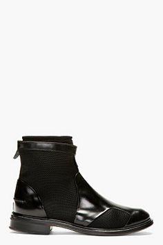 Paul Smith Black Leather & Neoprene Morrison Boots for men | SSENSE