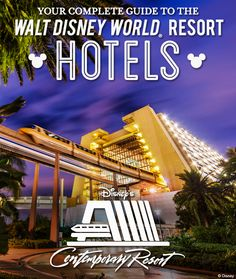 Complete Guide to the Walt Disney World Resort hotels: Disney's Contemporary Resort Contact Lisa to book your stay! Disney Resort Hotels, Disney World Hotels, Walt Disney World Vacations, Disney Trips, Hotels And Resorts, Disney Parks, Family Vacations, Disney Travel, Family Travel