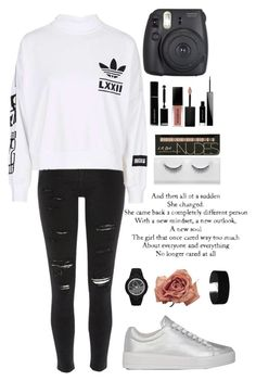 """""""Back to school outfit"""" by thenextamericana ❤ liked on Polyvore featuring River Island, adidas, Givenchy, Smashbox, Miss Selfridge, Love Quotes Scarves and Prada Sport"""