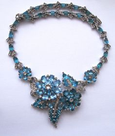 Mazer Pale Blue Rhinestone Necklace, Pin, Earrings, Bracelet Set near Mint , Lee Caplan Vintage Collection Exclusively on Ruby Lane