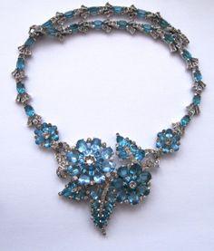 Mazer Magnificent Aqua Rhinestone Necklace Earrings Pin Bracelet 1940 near Mint