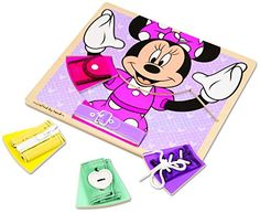 Melissa  Doug Disney Minnie Mouse Wooden Basic Skills Board  Zip Lace Tie Buckle Button and Snap -- Details can be found by clicking on the image.Note:It is affiliate link to Amazon.