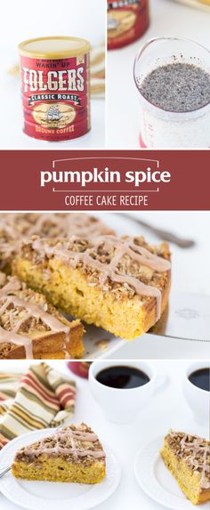 The best way to spend a chilly fall day is curled up with a hot cup of coffee and a slice of this Pumpkin Spice Coffee Cake. The classic design of the Folgers® Limited Edition Collector's Can along with the comforting flavor of your favorite coffee brand will bring you right back to your childhood. Pair your freshly brewed morning cup with this fall pumpkin recipe for a truly nostalgic experience!