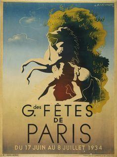 A. M. Cassandre. G. des Fêtes de Paris, Du 17 Juin au 8 Juillet 1934. 1934