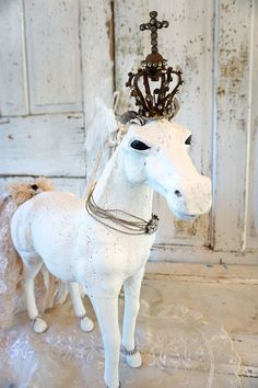 White horse statue French Nordic painted white distressed figure antique tattered lace tail crown embellished home decor anita spero design by anitasperodesign. Explore more products on http://anitasperodesign.etsy.com