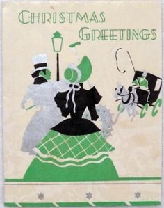 #1605 20s Art Deco Couple & Stagecoach-Vintage Christmas Greeting Card