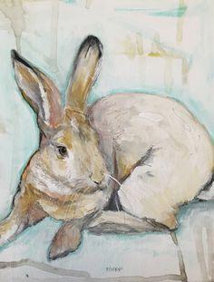 """Bunny Hop"" by Katherine McClure. Acrylic on canvas panel. Bunny Painting, Rabbit Art, Bunny Art, Brown Art, Animal Paintings, Pet Portraits, Watercolor Art, Illustration Art, Illustrations"