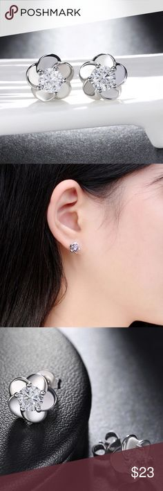 Earrings Trendy Flower Shape, Silver Earrings.  AAA Austrian Zircon,  high quality jewelry.  Nickel free. Jewelry Earrings