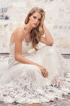 Dame by Watters showcases beautiful curlicues of lace to amazing effect. Prom Girl Dresses, Bridal Dresses, Wedding Gowns, A Line Gown, Colored Wedding Dresses, Perfect Wedding Dress, Pretty Outfits, Pretty Clothes, Bridal Collection