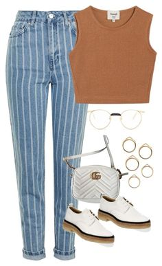 """Sem título #1644"" by oh-its-anna ❤ liked on Polyvore featuring Gucci, Topshop, Samuji and rag & bone"