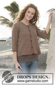 DROPS vest in tricotst van Silke-Tweed of Alpaca met ¾ of lange mouwen. Maat S - XXXL.