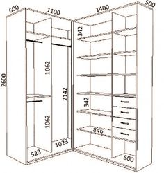 ideas for closet medidas projeto Corner Wardrobe, Wardrobe Design Bedroom, Master Bedroom Closet, Walk In Wardrobe, Bedroom Wardrobe, Bedroom Small, Armoire D'angle, Dressing Room Design, Closet Layout