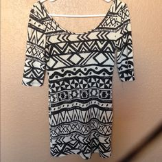 Black and white tribal bandage dress Tight fitting, big scoop neck and low back. Comes down to mid thigh or a little higher. Open to negotiations and bundle price discounts :) bin Dresses Mini