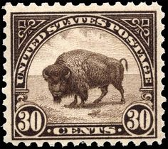 USA 1923: 30¢ American Bison Designed by Claire Aubrey Huston Engravers, Louis S. Schofield (vignette) and Edward M. Hall (lettering)