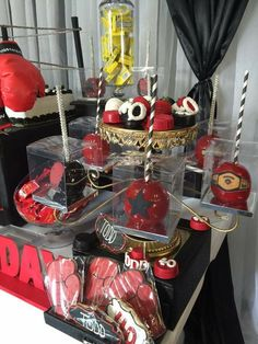 Boxing Theme Dessert Table and Decor Gender Reveal Themes, Baby Shower Gender Reveal, Baby Shower Themes, Baby Boy Shower, 1st Birthday Themes, Adult Birthday Party, 50th Birthday Party, Boxing Theme Party Ideas, Party Themes