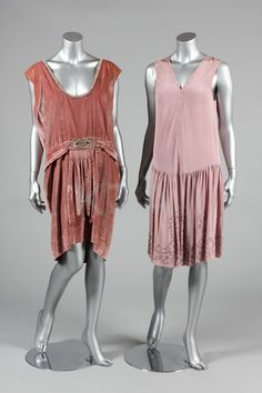 1920s evening wear, a mauve silk crepe cress with lilac beaded hem and trim; and a dusky-pink velvet cocktail dress with rhinestone beading and medallions, bands to open back.