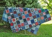 Denim Picnic Blanket pdf pattern-recycle your old jeans and flannel shirts to make this fast and easy quilt