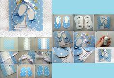 Sapatilhas de papel. Para convites de chá de bebê ou cartões de lembrança maternidade.