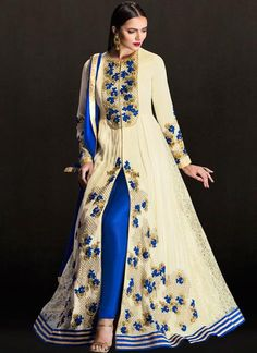 Off White Embroidered Anarkali Suit in Georgette