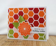 handmade card from Kloset Kreations: ColourQ ... some of my favorite Fall colors here ... luv how the white die cut hexagon grill makes the deep warm colors pop ... Paper Trey Ink ...