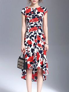 Casual A-line Short Sleeve Printed Floral #Midi #Dress
