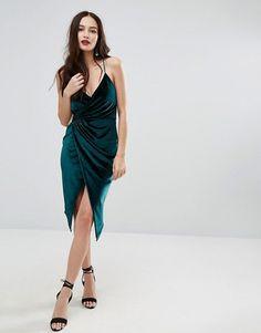 Boohoo | Boohoo Velvet Midi Wrap Dress