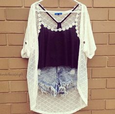 white light cardigan with frayed shorts and cropped top
