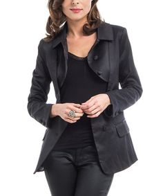 Look what I found on #zulily! Black Keyhole Button-Up Blazer #zulilyfinds