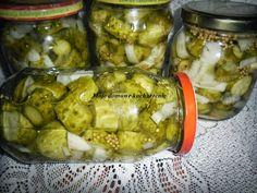 Ogórki koreczki Canning Recipes, Pickles, Preserves, Cucumber, Mango, Food And Drink, Vegetables, Cooking, Crafts