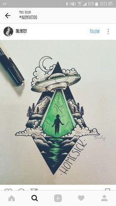"""""""Homesick at Spacecamp""""? Alien Drawings, Space Drawings, Art Drawings Sketches, Tattoo Sketches, Tattoo Drawings, Cool Drawings, Body Art Tattoos, Maori Tattoos, Tatoos"""