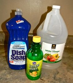 Hard Water Sink cleaner What you need: Spray bottle 1/4 cup of lemon juice Liquid dish soap White vinegar What you do: Fill the empty spray bottle halfway up with vinegar. Add 1/4 cup of lemon juice. Fill the remaining space with your choice of liquid dish soap. Leave about 2 inches in the top for mixing. Shake the bottle and soak those stubborn stains.