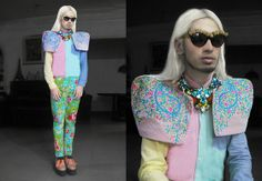 Lesmoda Floral Embellished Cats Eye Frames, Ken Samudio S/S 2013 Layered Crystal Neckpieces, Tammie Figueroa Embroidered Pastel Couture Shoulder Piece, Pastel Colored Resort Trousers, Pastel Colored Golf Creepers With Oversized Ghillie