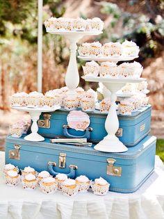 Vintage Suitcase Wedding Dessert Bar