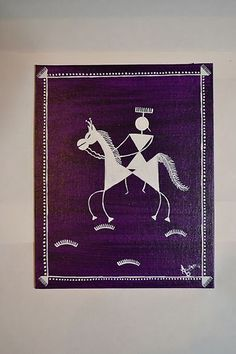 Warli Painting (Ethnic Art from India) King and his horse.