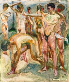 Naked Men in the Baths Artwork by Edvard Munch Oil Painting