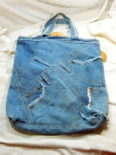 Vintage Blue Jean Denim Tote Bag Purse Recycle Upcycle Sack Boho Hippie #Unknown #TotesShoppers