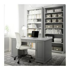 Loving the color gray? Create a perfect matching IKEA home office with the LIATORP desk and bookcase. Home Office Desks, Furniture, Ikea Home, Home, Home Office Furniture, Home Office Storage, Home Office Decor, Ikea Home Office, Grey Desk