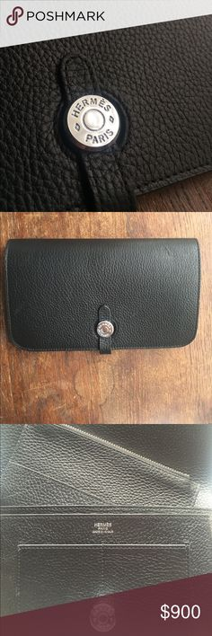 Authentic Hermes Black togo leather dogon wallet My girlfriend is trying to get rid of some of her old wallets and purses it is one hundred percent authentic and is slightly used with no visible wear and tear Hermes Bags Wallets