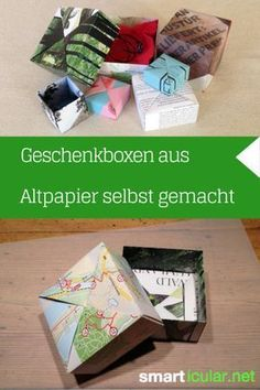 Give without packaging waste: folding box made of waste paper You can easily fold creative gift packaging and paper storage boxes yourself. Creative Gift Packaging, Creative Gift Wrapping, Creative Gifts, Paper Gift Box, Paper Gifts, Diy Paper, Gift Boxes, Upcycled Crafts, Diy And Crafts
