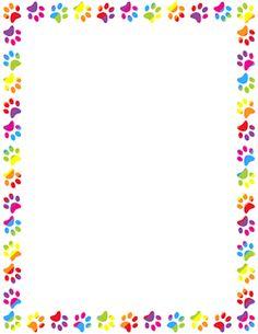Rainbow Paw Print Border
