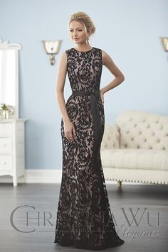87316477ef3e Christina Wu Elegance 20239 A warm and inviting sleeveless gown with full,  soft lace on net featuring a grosgrain ribbon and a bateau neckline.