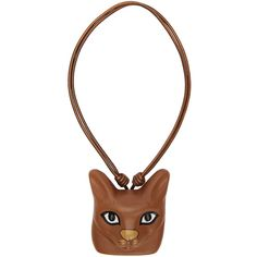 Loewe Brown Cat Face Necklace (920 CAD) ❤ liked on Polyvore featuring jewelry, necklaces, brown, cat pendant, brown pendant, cat necklace, loewe and pendant necklace