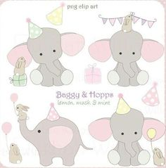 BAGGY HOPPS - lemon, musk and mint - 14 piece digital clip art and page border set, in high resolution, Png digital art files. Elephant Party, Cute Elephant, Elephant Pics, Cartoon Elephant, Birthday Clipart, Birthday Cards, Rabbit Clipart, Elephant Quilt, Page Borders